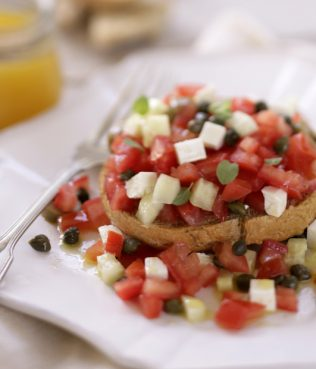 Barley Rusks, Tomatoes, Apples, and Mint (Dakos salad)