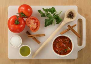 Greek Tomato Sauce Components include extra virgin olive oil, cinnamon, and allspice.