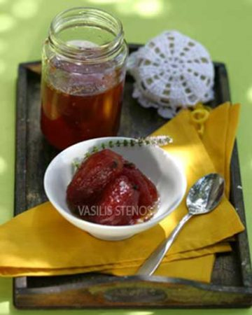 Small tomatoes make a great summer spoon sweet, served with yogurt or mild cheese.