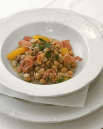 Chick peas are prepared with olive oil, orange, herbs and more in Greek cooking.