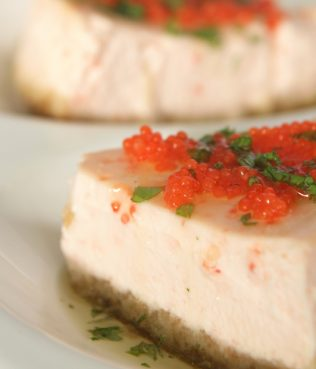 Tarama and Greek Yogurt Cheesecake with Mint-Flavored Olive Oil