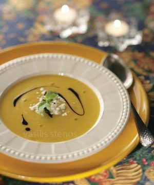 Add a touch of Greek yogurt and Greek honey to pumpkin soup