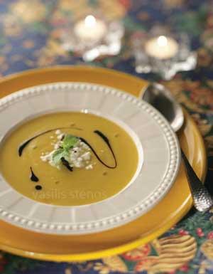 Add a touch of Greek yogurt and Greek honey to pumpkin soup