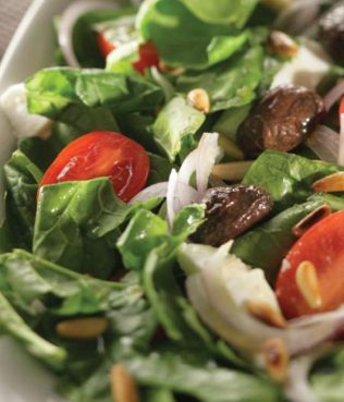 Spinach Salad with Olives & Pine Nuts or Chestnuts