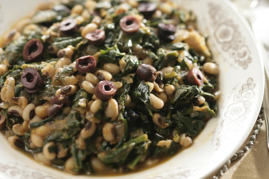Black-eyed peas braised with greens and Kalamata olives.