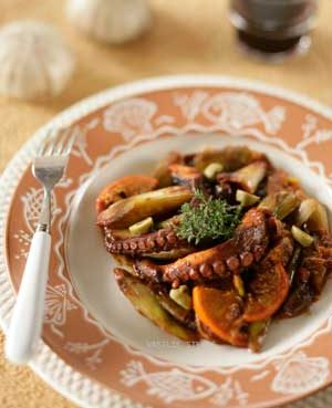 Octopus Cooked with Fennel, Orange and Green Olives