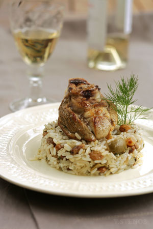 BYZANTI is an Aegean island Easter dish of lamb or goat stuffed with rice