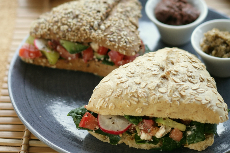 Greek Salad in a Whole-Grain Sandwich