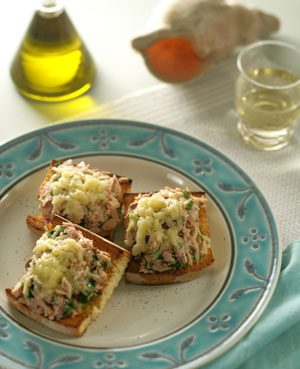 Greek-Style Tuna Melt with Kasseri Cheese and Olives