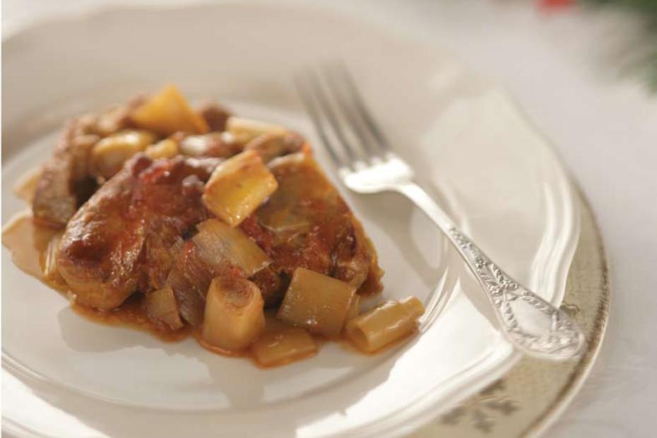 Naoussa Style Braised Pork And Leeks Greek Food Greek Cooking Greek Recipes By Diane Kochilas