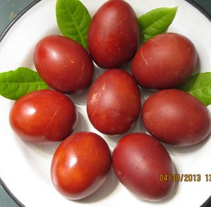Greek Easter eggs dyed naturally with onion skins