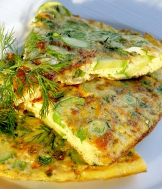 Zucchini Omelet with Greek Yogurt & Feta