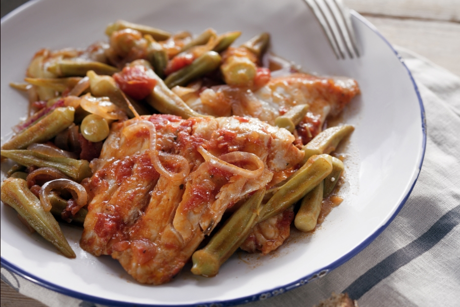 Fish Baked With Okra Greek Food Greek Cooking Greek Recipes By
