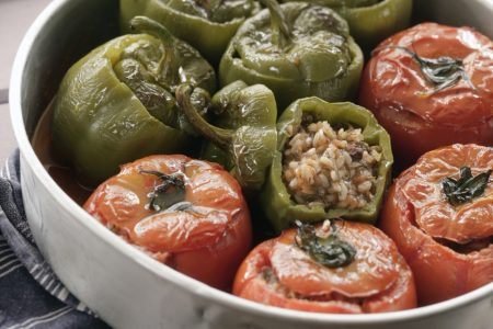 Vegetarian rice stuffed tomatoes