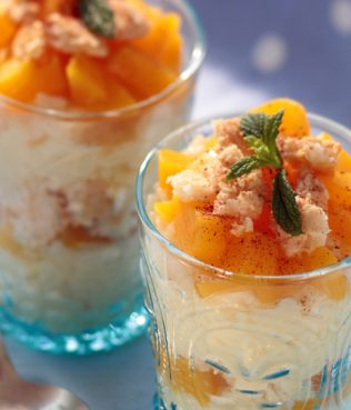 Rice Pudding with Greek Yogurt & Peaches