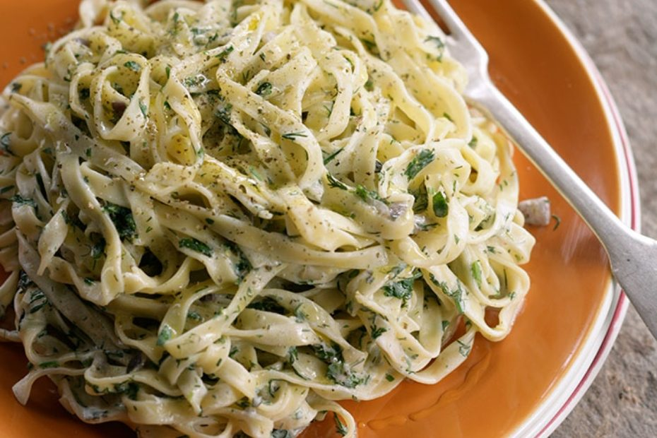 Ikaria Fettucine al Greco with Greek yogurt and Herbs