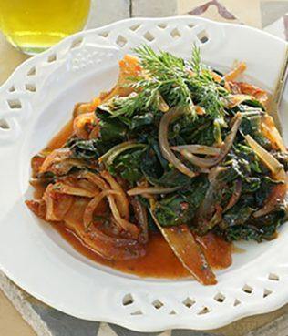 Sautéed Greens with Onions and Tomatoes (Tsigareli)