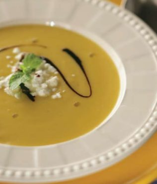 Pumpkin Soup w/ Yogurt and Honey