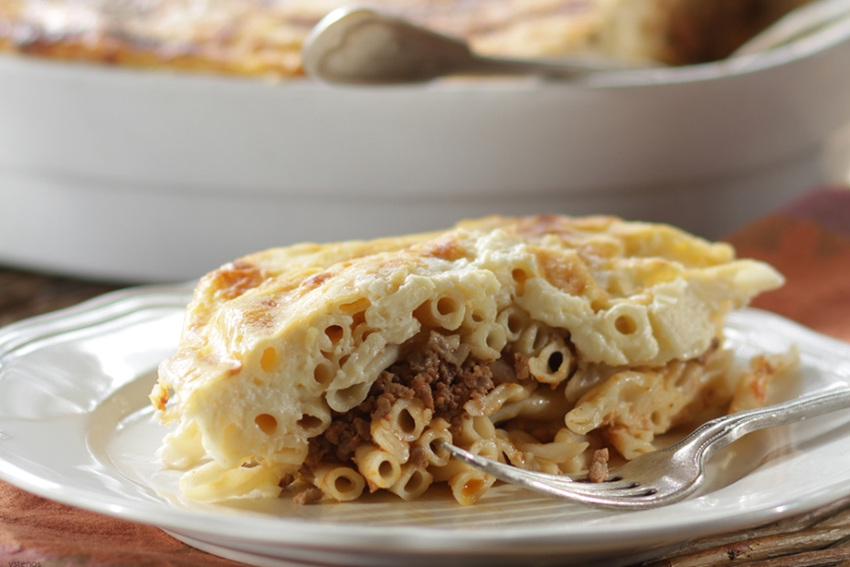 Classic pastitsio, Greece's baked pasta with ground meat and bechamel.