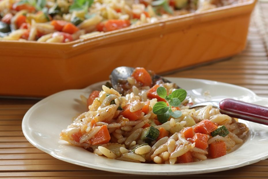 Vegetables and Orzo in the Oven
