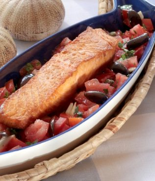 Grilled Salmon with Fresh Tomato Sauce and Olives