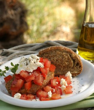 Mykonos Barley Rusk and Tomato Salad