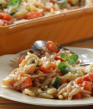 Baked Vegetable Orzo Casserole - Yiouvetsi