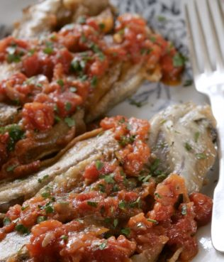 Ikaria-Style Batter-Dipped Eggplants in Fresh Tomato Sauce