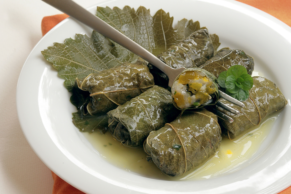 Grape Leaves Stuffed With Pumpkin Herbs Rice Greek Food Greek Cooking Greek Recipes By Diane Kochilas