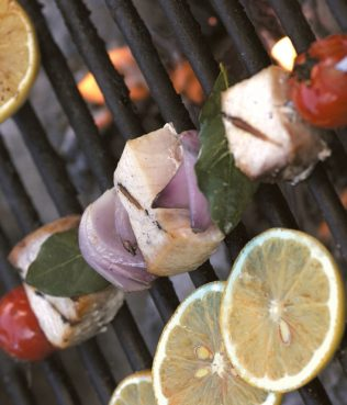 Swordfish Souvlaki with Lemon-Olive Marinade