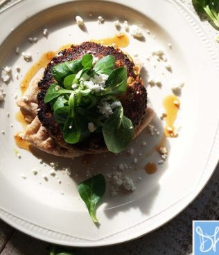 Vegetarian Burger with Winter Squash and Greek Fava