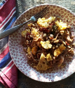 Whole Wheat Pasta with Cauliflower, Oranges, Walnuts, & Rosemary