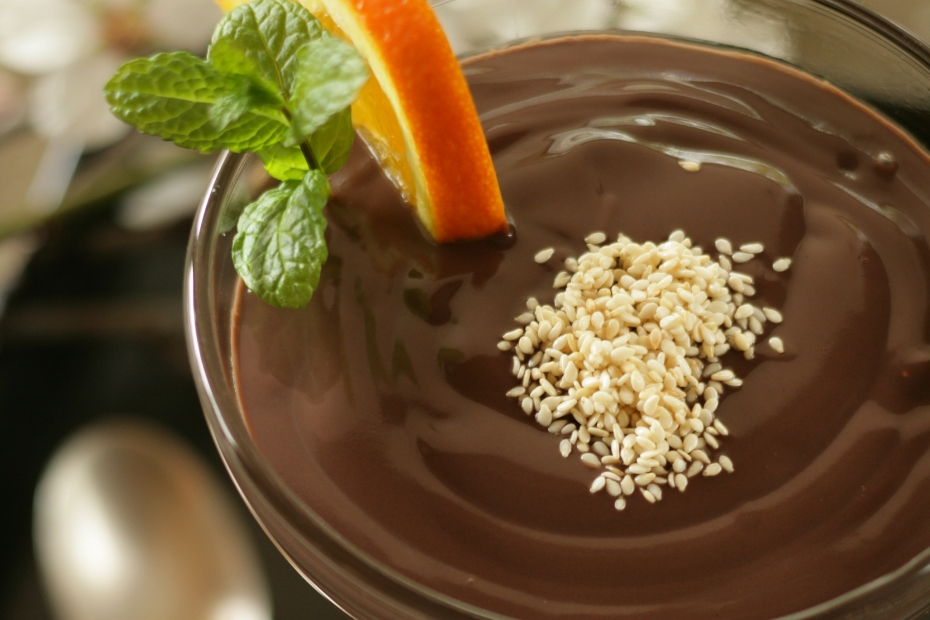Greek chocolate mousse with tahini and almond milk is a diary-free, Greek vegan dessert.