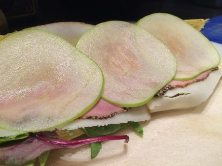 Green apples in a sandwich at Metropolis. Photo: Andreas Economakis