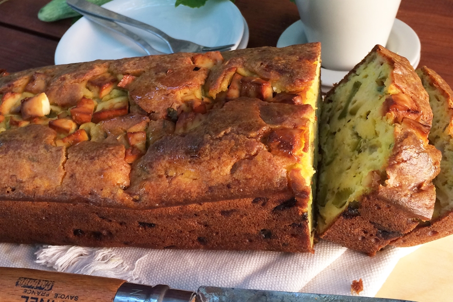 Zucchini Feta Bread with Fennel, Mint and Turmeric