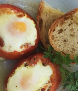Eggs Baked Inside Tomatoes