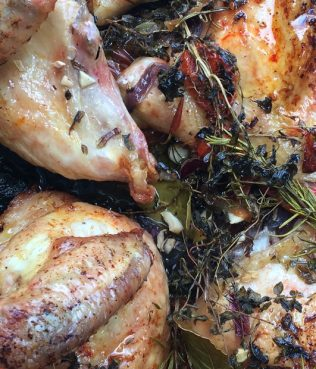 Five Minute Herb-Smothered Roasted Chicken with Fresh Tomatoes