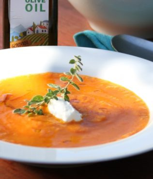 Fresh Tomato Soup with Bulgur and Vrisi 36 Greek Olive Oil