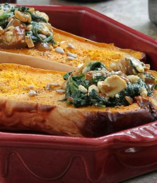 "Roasted Butternut Squash Filled with ""Spanakopita"""