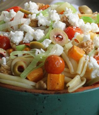 Pasta with Butternut Squash, Olives, Tomatoes, and Leeks