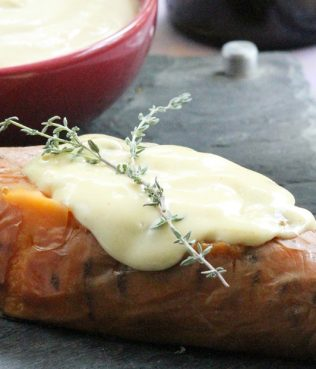 Roasted Sweet Potatoes with Greek-Mustard Aioli