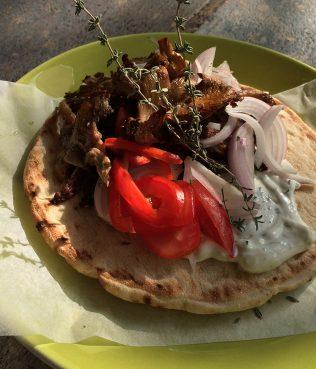 """Mushroom """"Gyro"""" Pita Wrap Sandwich"""