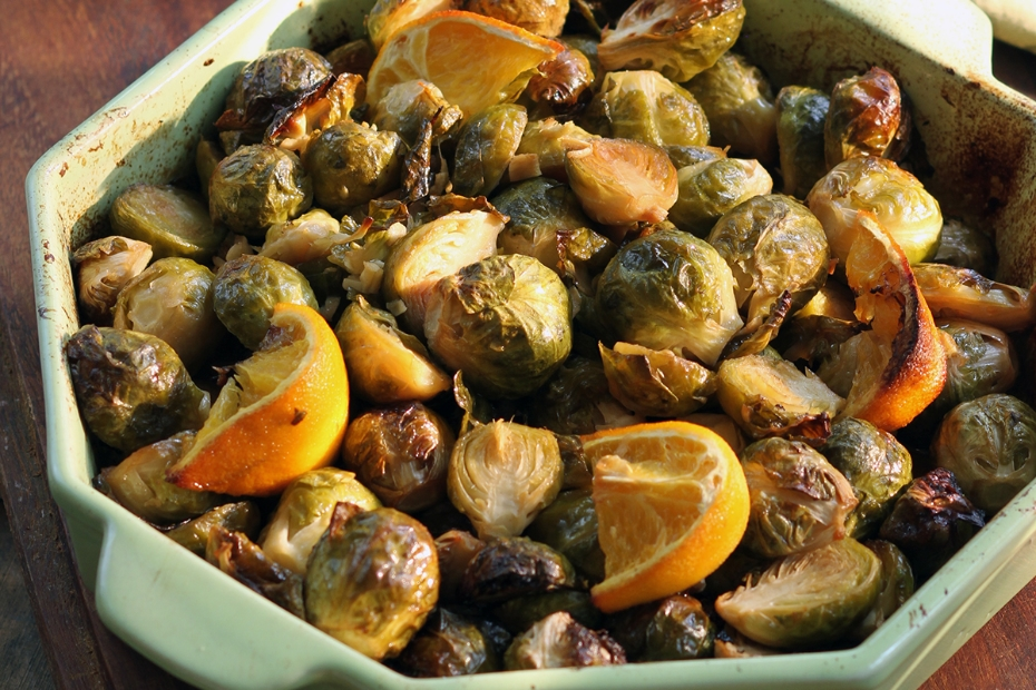 Spiced, Roasted Brussel Sprouts with Greek Mustard