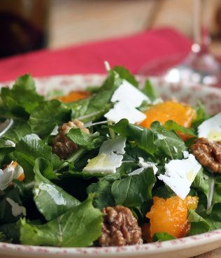 Arugula Salad with Persimmons, Walnuts, Feta & Honey Vinaigrette