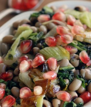 Lucky Black Eyed Peas with Spinach, Leeks and Pomegranate