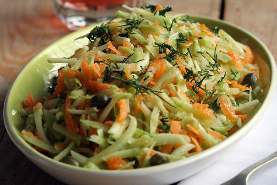 Winter salad with grated broccoli stalks, cabbage and carrots.