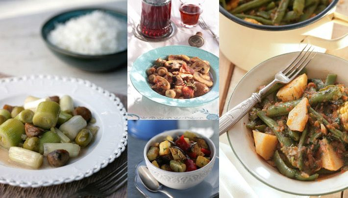 Olive Oil based stews are chock full of veggies.
