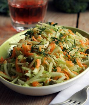 Grated Broccoli Stalks and Carrot Salad