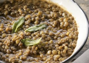 Lentil soup with sage and chile peppers from Ikaria