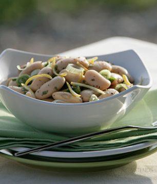 Giant Bean Piaz, a classic salad in Thessaloniki tavernas.  Photo: Vassilis Stenos